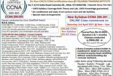 CISCO New Syllabus Online CCNA 200-301 certification class on 3rd April 2021