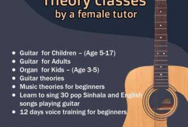 Guitar , organ, singing, voice training , theory , Music